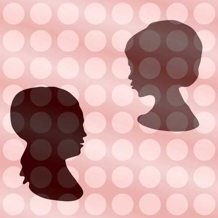 two heads: Two heads silhouettes on vintage polka dot gradient background
