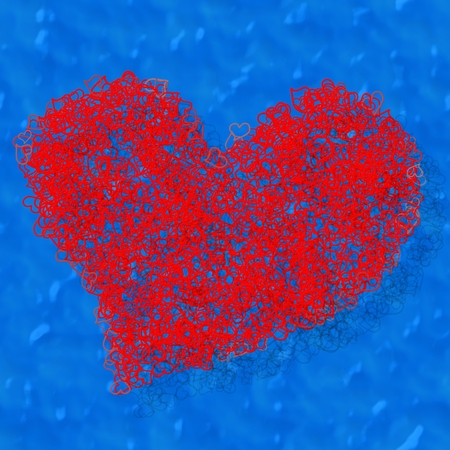 name day: Composed red heart on blue background