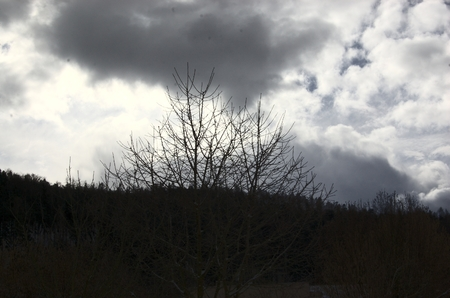 leaden: Leaden clouds hang heavily over the horizon. Photographed February 8, 2015 in 13-14 hours. Bojov, Central Bohemia, Czech Republic.