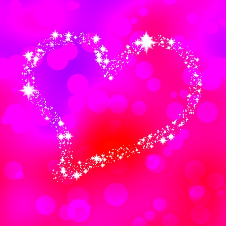 name day: Soft heart composed of stars on pink bokeh background