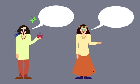 hippies: Couple of hippies with communication bubble isolated on gray background Illustration