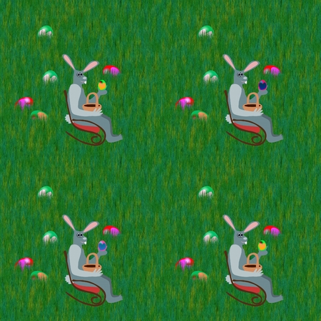 lawn chair: Gray rabbits on rocking chair front grass lawn with hidden easter eggs Stock Photo