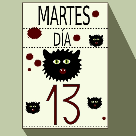 13th: Tuesday, the 13th - list of calendar with long shadows, bloodstains and heads of cats with Spanish inscription Martes dia 13
