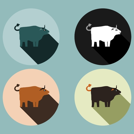 permissible: Bull with long shadow - four colored variations Illustration