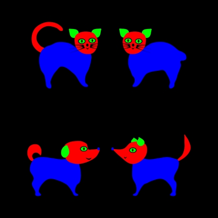 ostentatious: Cat and dog vector illustration isolated on black background