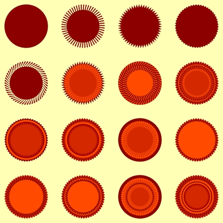 yellowish: Round seal shapes in orange-brown colors isolated on yellowish background Illustration