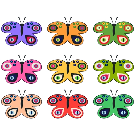 pale ocher: Set of colored decorative butterflies