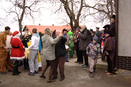 renewed: CISOVICE, MNISECKO (CENTRAL BOHEMIA), CZECH REPUBLIC - FEBRUARY 28: 8th year according to the old Czech tradition renewed Carnival procession February 28, 2015 in Cisovice village. Parade organizes Voluntary fire brigade. Participants go house by house.