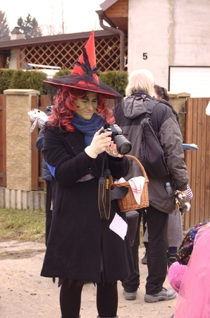 renewed: CISOVICE, MNISECKO (CENTRAL BOHEMIA), CZECH REPUBLIC - FEBRUARY 28: 8th year according to the old Czech tradition renewed Carnival procession February 28, 2015 in Cisovice village. Parade organizes Voluntary fire brigade. Masks go house by house.  Witch. Editorial