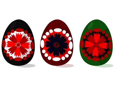 motive: Traditional folklore decorated Easter eggs with floral motive