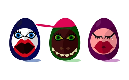 wench: Cute funny Easter eggs with girl and animal face on white background