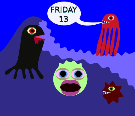 Underwater monster in 80s style say friday 13