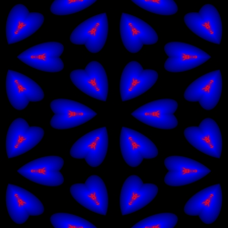 heart chakra red: Endless pattern of dark blue hearts in which the fire is burning on a black background
