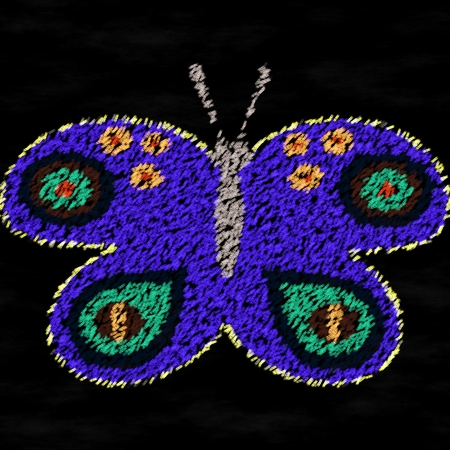 generate: Purple butterfly chalk drawing on black board - computer generate graphic