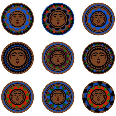 toltec: Collection of stylized face masks in style of native american culture