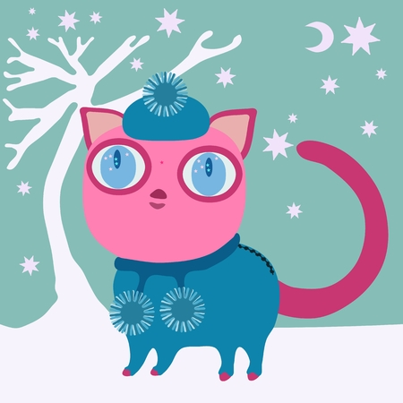 burmese: Cute pink cat with big eye in blue winter cap and dress with balls