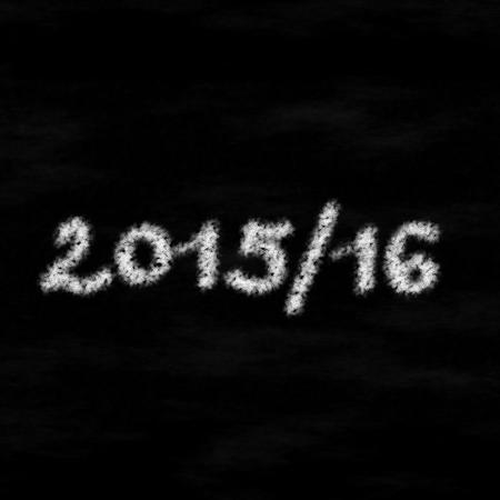 beginning school year: White chalk inscription 201516 on black board - computer generated graphic