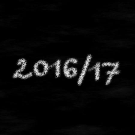 beginning school year: White chalk inscription 201617 on black board - computer generated graphic