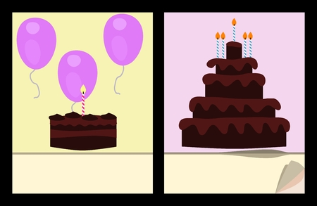 scratch pad: Workbook cover template with birthday cakes and air balloons Illustration