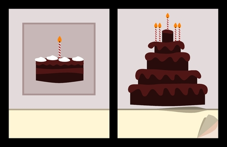 scratch pad: Workbook cover template with small and big birthday cake