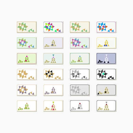individual: Collection of backgrounds with decorative lines and triangle conceptual patterns - aspect ratio of individual cards 819x468. Illustration