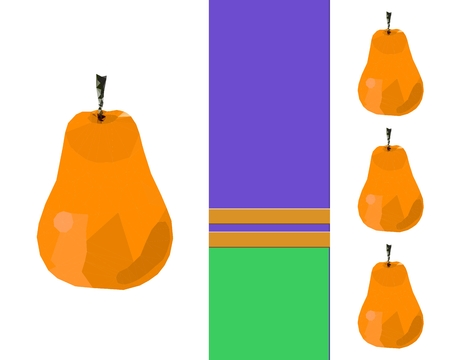 thriving: Triangulate ripe yellow pears on white background with flattened purple green ribbon with two golden stripes - with clear space for text