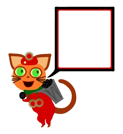 lighthearted: Red dressed cat with square communication bubble carries hod with coal.