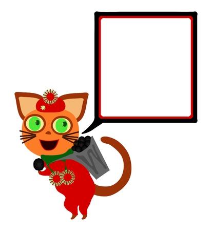 blithe: Red gato vestido con la burbuja de comunicaci�n plaza lleva hod con carb�n. Vectores
