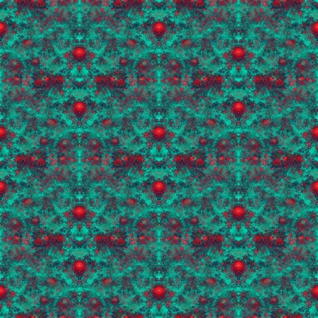 Fractal red rose flower seamless pattern on dark turquoise background - computer generated graphic photo