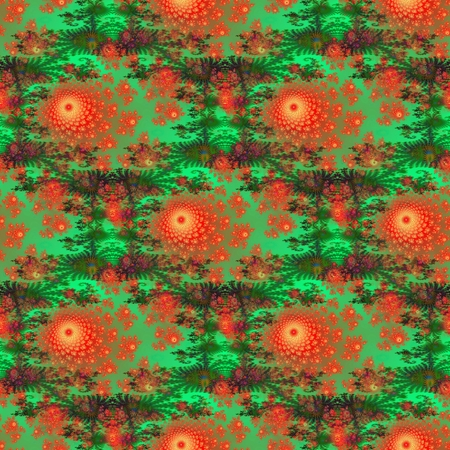 Seamless decorative pattern with red-orange flowers on green ornamental background photo