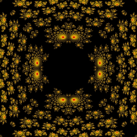Abstract seamless yellow black fractal pattern reminiscent of demon heads with glowing eyes - computer generate graphic photo