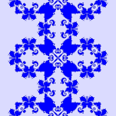 simple purity flowers: Abstract seamless decorative blue fractal mosaic with recognizable silhouettes of butterflies