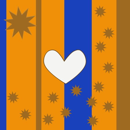 Abstract decorative gold blue background with white clear heart and golden stars Vector