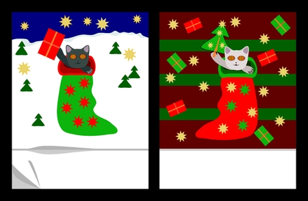 burmese: Cute christmas kittens in socks with gifts, stars and trees Illustration