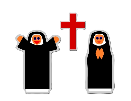 Simple icon of christian nun rejoicing and praying front red cross Vector