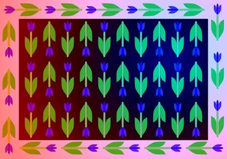 sidelight: Stylized decorative floral retro pattern