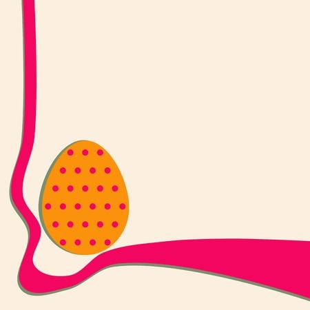 lunares rojos: Huevo naranja con lunares rojos - Pascua fondo decorativo