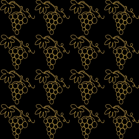 sidebar: Simple gold lines drawn bunch of grapes on a black background