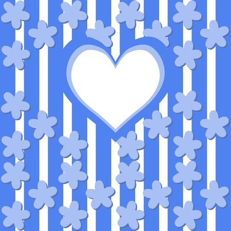 tonality: Cute background with flax flower decor and big heart on vertically stripes Illustration