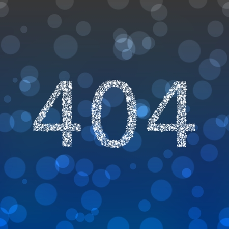 composed: Number 404 composed of snowflakes on gray blue bokeh background