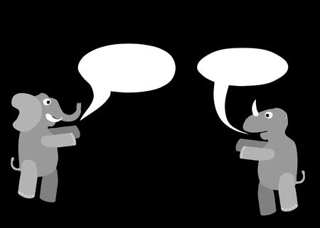 communication cartoon: Rhino and elephant cartoon animals with communication bubbles isolated on black background