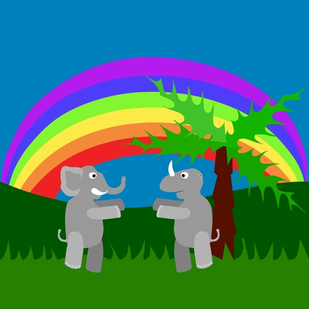 Meeting of rhino and elephant in tall grass under rainbow Vector