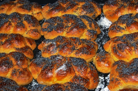 twists: Homemade buns sprinkled with poppy seeds on black metal plate
