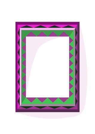 complementary: Lilac green angular frame in op art style with internal dimension A4 vertically Illustration