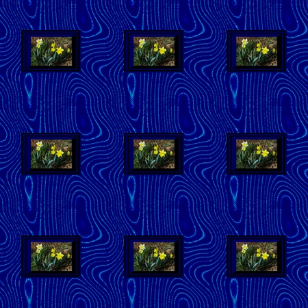 Seamless wavy pattern with frame content narcissus image photo