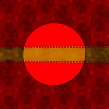 fondo para tarjetas: Fondo borroso decorativo de color rojo con etiqueta redonda y cinta semitransparente oro