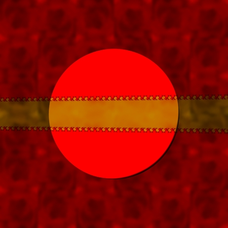 ornamental background: Red decorative blurred background with round label and gold semitransparent ribbon