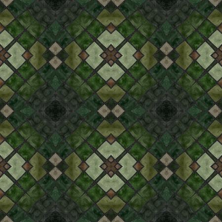 harmonization: Green floral vintage mosaic  seamless pattern