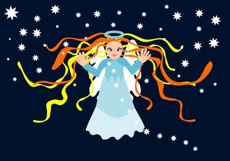 angel de la guarda: Figura de �ngel de la guarda en el fondo azul oscuro con estrellas Vectores