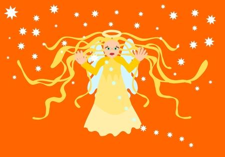 b�n�diction: B�n�diction ange gardien � ciel orange de feu Illustration